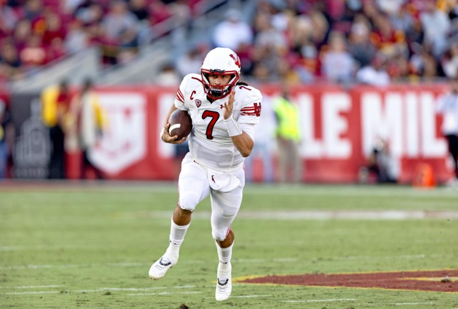 University of Utah sophomore quarterback Cameron Rising in a University of Utah football game  against the USC Trojans on Saturday, Oct. 10, 2021. (Photo by Kevin Cody | The Daily Utah Chronicle)