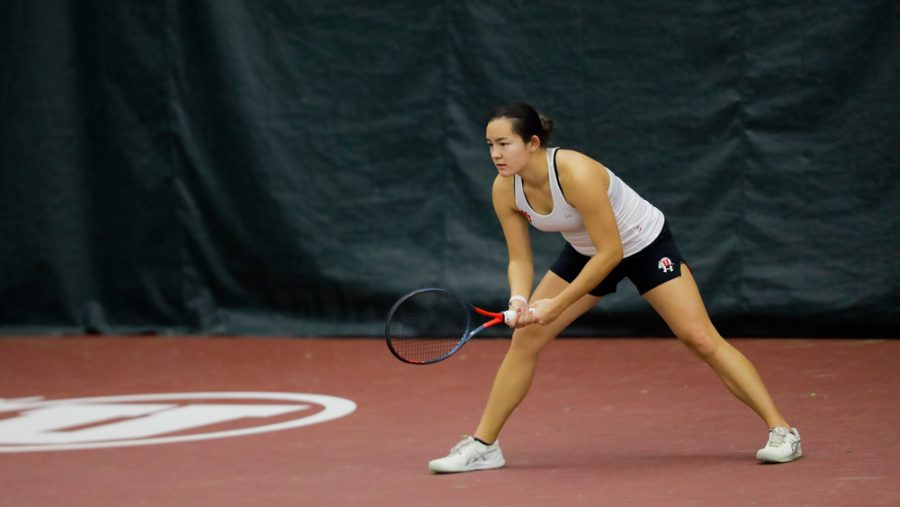 The Utah Womens Tennis player and University of Utah junior Madeline Lamoreaux defends a serve against the New Mexico State University in an NCAA dual Meet at the Jon M. Huntsman Tennis Center on 04 Feb. 2021 (Photo by Abu Asib | The Daily Utah Chronicle)