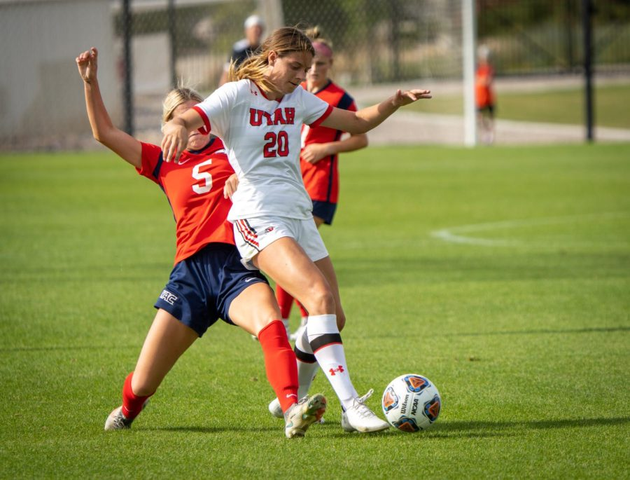 University of Utah womens soccer forward Erin Bridges (20) plays in the match vs. Dixie State at Utes field on the University of Utah campus on Sept. 12, 2021. (Photo by Xiangyao Axe Tang | The Daily Utah Chronicle)