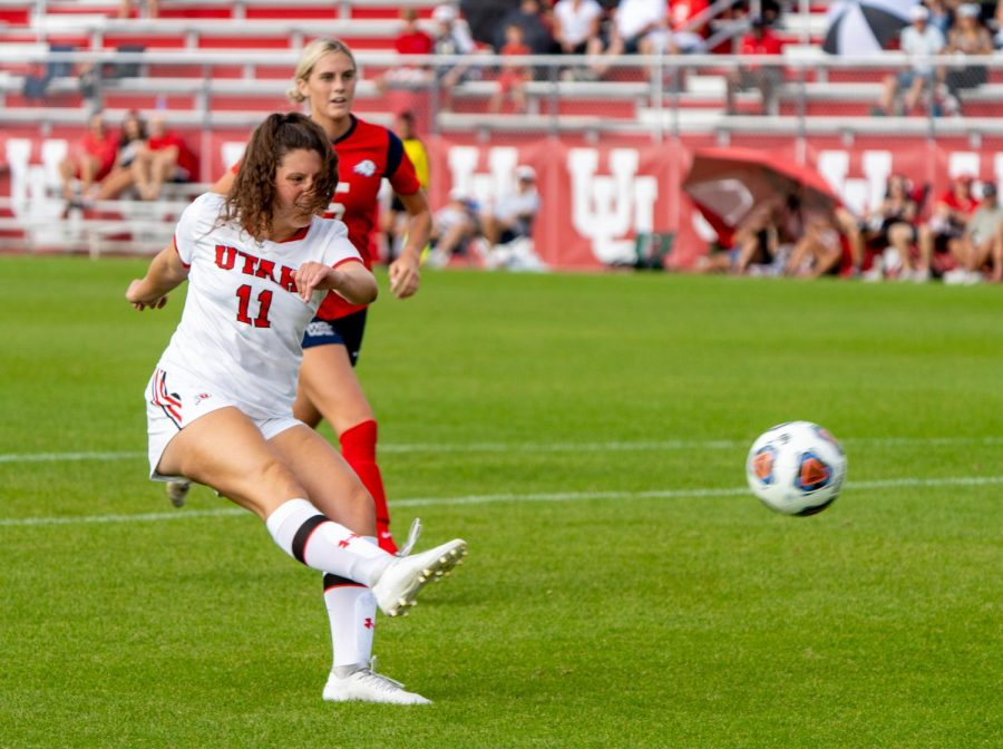 University of Utah womens soccers forward Megan Lusher (11) plays in the match vs. Dixie State at Utes field on the University of Utah campus on Sept. 12, 2021. (Photo by Xiangyao Axe Tang | The Daily Utah Chronicle)
