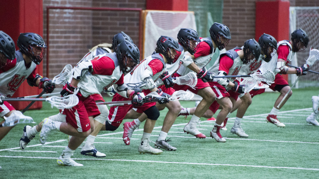 The University of Utah Men's Club Lacrosse team practices in the Spence Eccles Field House on Tuesday, January 17, 2017