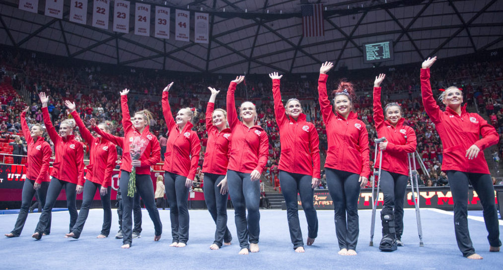 The University of Utah Women's Gymnastics Redrocks wave to the crowd after winning the meet with Stanford at the John M. Huntsman Center on Friday, March 3, 2017 (Kiffer Creveling | The Daily Utah Chronicle)