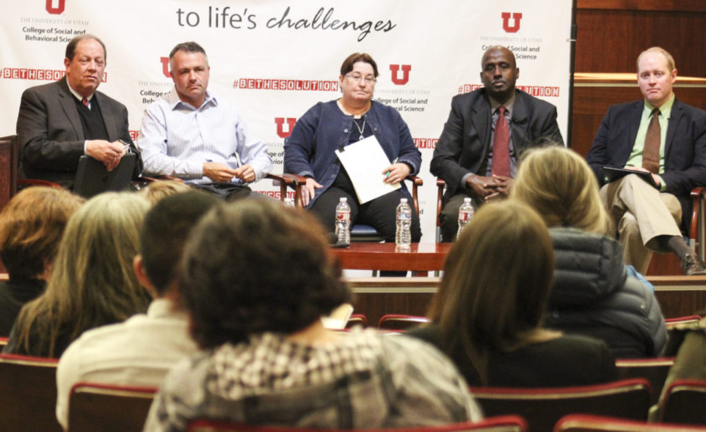 Panelists at the Immigration and Refugee Policy Forum. From left to right: Bradley H. Parker, Jason Mathis, Caren Frost, Aden Batar, and Derek Monson. | Photo courtesy of the Hinckley Institute of Politics