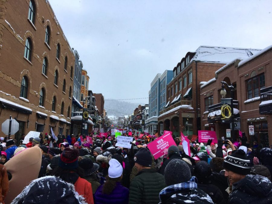 Roughly 8,000 protestors marched down Main Street in Park City on Saturday Jan. 21, 2017. (Photo by Koly Swistack)
