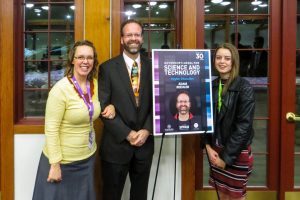 Adam Beehler, winner of the Governor's Medal for Science and Technology,  was recognized for his contributions in Higher Education. Pictured here with his family. (Photo courtesy of Adam Beehler)