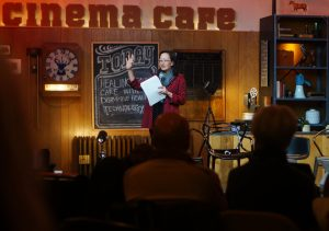 Vivian Lee, CEO of University of Utah Health Care, speaks inside the Sundance Filmmaker Lodge before the showing of Healing Health Care with Disruptive Health Technology in Park City, Utah on Friday, Jan. 28, 2017. (Rishi Deka, Daily Utah Chronicle)