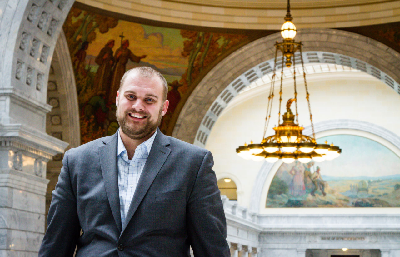 Turner Britton inside the Capital Building Rotunda, January 24, 2017. Michael Adam Fondren for Daily Utah Chronicle.
