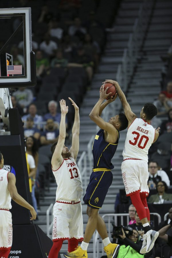 Utes Guard Gabe Bealer (30) with the block during the second round of the PAC 12 Tournament against the California Golden Bears at the T-Mobile Center in Las Vegas, Nevada on Thursday, March 9, 2017. Chris Ayers Daily Utah Chronicle.