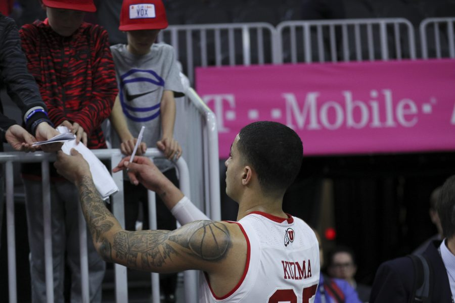 Utah guard Lorenzo Bonam signs autographs for fans after the second round of the PAC 12 Tournament against the California Golden Bears at the T-Mobile Center in Las Vegas, Nevada on Thursday, March 9, 2017. Chris Ayers Daily Utah Chronicle.
