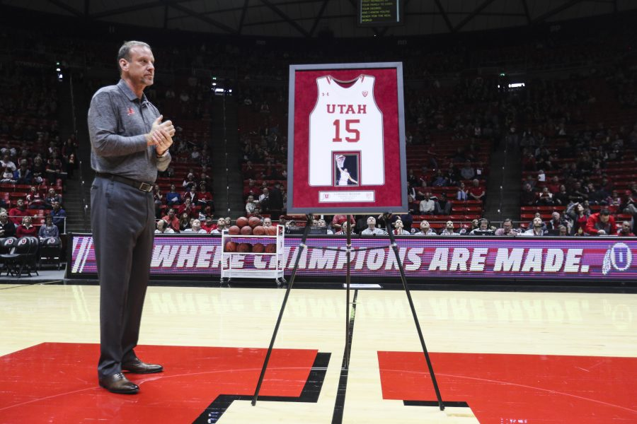 Coach Larry Krystkowiak before the senior ceremony against Stanford Cardinals on Saturday, March 4, 2017. Chris Ayers Daily Utah Chronicle.