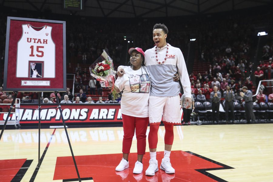 Utes senior Lorenzo Bonam before the senior night ceremony against Stanford Cardinals on Saturday, March 4, 2017. Chris Ayers Daily Utah Chronicle.