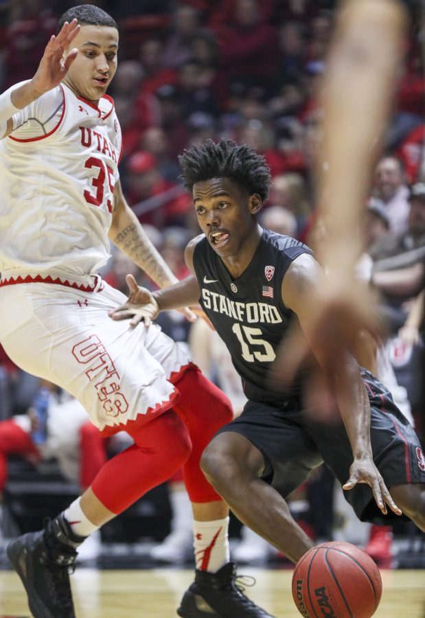 Stanford guard Marcus Allen (15) drives to the hoop against Stanford Cardinals on Saturday, March 4, 2017. Chris Ayers Daily Utah Chronicle.
