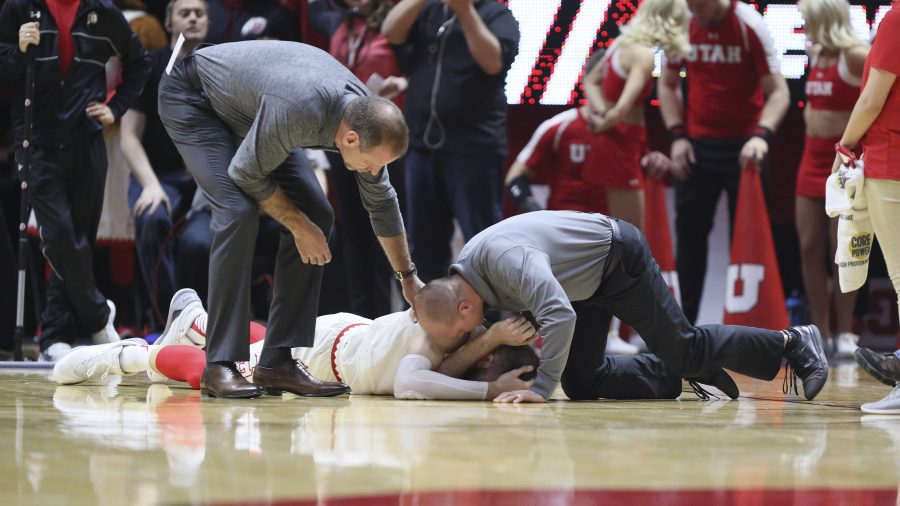 Utes forward David Collette injuried during the first half Utes sophomore against Stanford Cardinals on Saturday, March 4, 2017. Chris Ayers Daily Utah Chronicle.