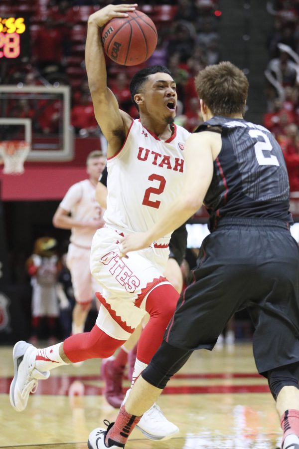 Utes sophomore Sedrick Barefield (2) drives to the hoop against Stanford Cardinals on Saturday, March 4, 2017. Chris Ayers Daily Utah Chronicle.