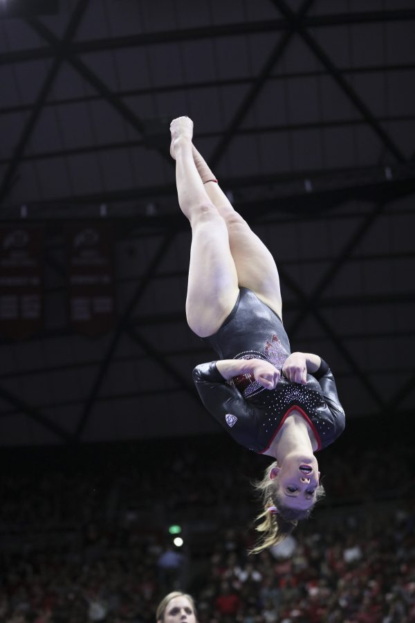 Senior Baely Rowe performing her beam routine vs Stanford at the Jon M. Huntsman Center on Friday, March 3, 2017. Chris Ayers Daily Utah Chronicle.