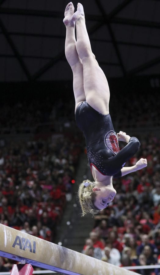 Junior Maddy Stover performing her beam routine vs Stanford at the Jon M. Huntsman Center on Friday, March 3, 2017. Chris Ayers Daily Utah Chronicle.