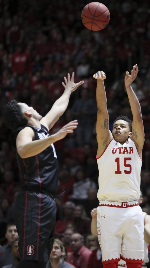 Utes guard Lorenzo Bonam (15) attempts a three pointer against Stanford Cardinals on Saturday, March 4, 2017. Chris Ayers Daily Utah Chronicle.