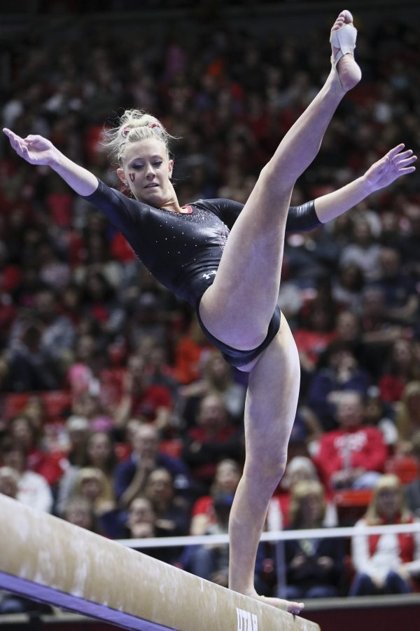 Sophomore Makenna Merrell slips beam routine vs Standford at the Jon M. Huntsman Center on Friday, March 3, 2017. Chris Ayers Daily Utah Chronicle.
