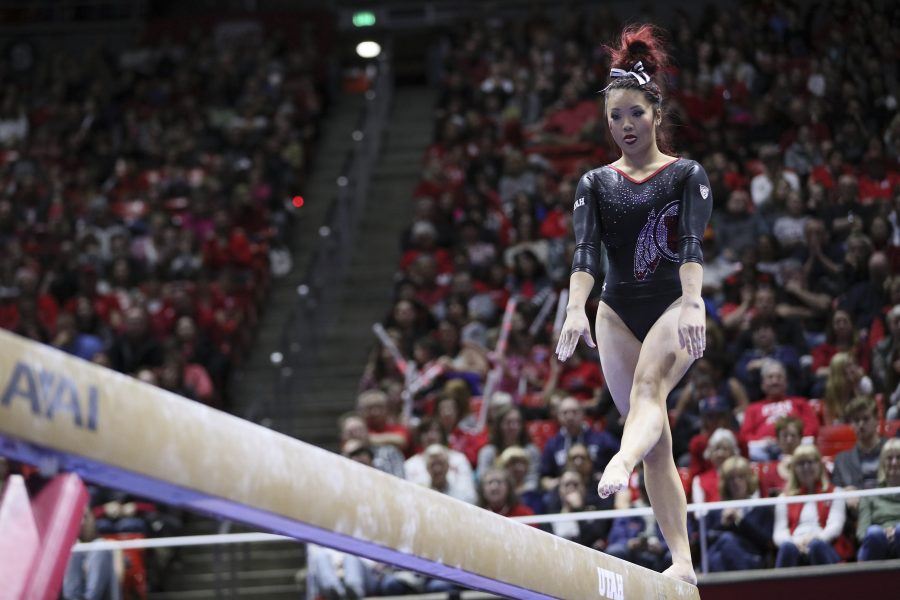 Sophomore Kari Lee  performing her beam routine vs Stanford at the Jon M. Huntsman Center on Friday, March 3, 2017. Chris Ayers Daily Utah Chronicle.