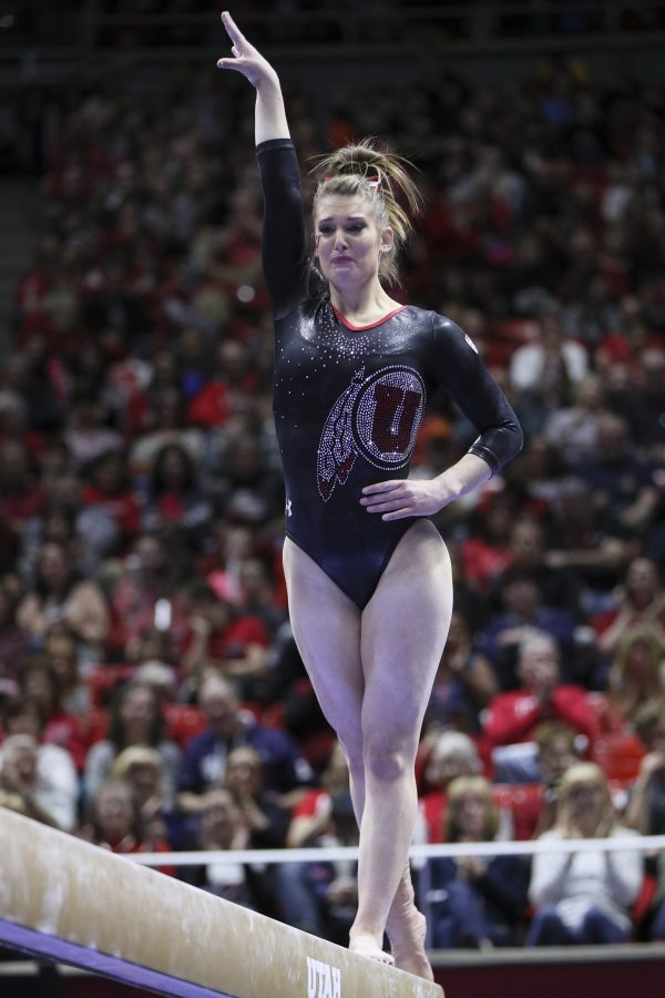 An emotional senior Baely Rowe performs her final beam routine vs Stanford at the Jon M. Huntsman Center on Friday, March 3, 2017. Chris Ayers Daily Utah Chronicle.