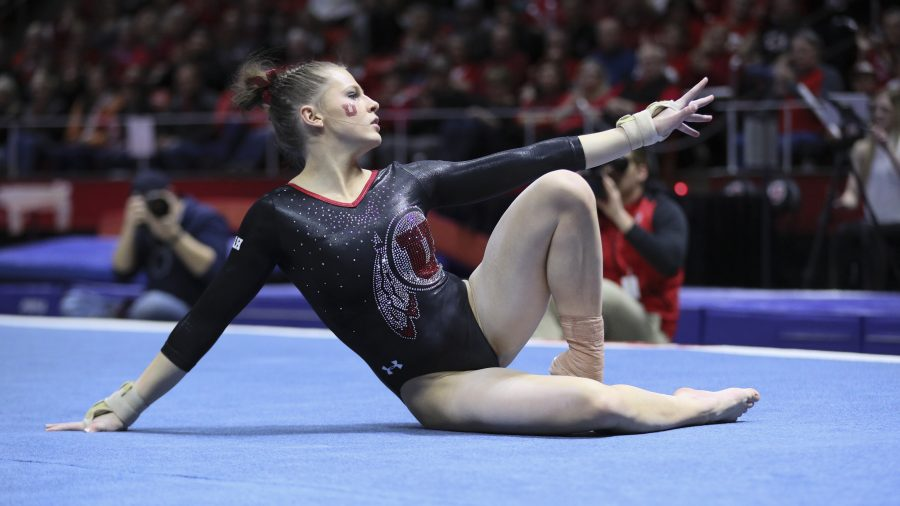 Missy Reinstadtler at the end of her floor routine vs Stanford at the Jon M. Huntsman Center on Friday, March 3, 2017. Chris Ayers Daily Utah Chronicle.