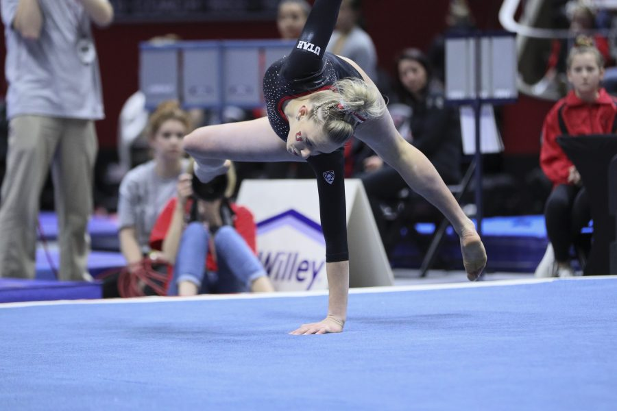 Sophomore Makenna Merrell during her floor routine vs Stanford at the Jon M. Huntsman Center on Friday, March 3, 2017. Chris Ayers Daily Utah Chronicle.