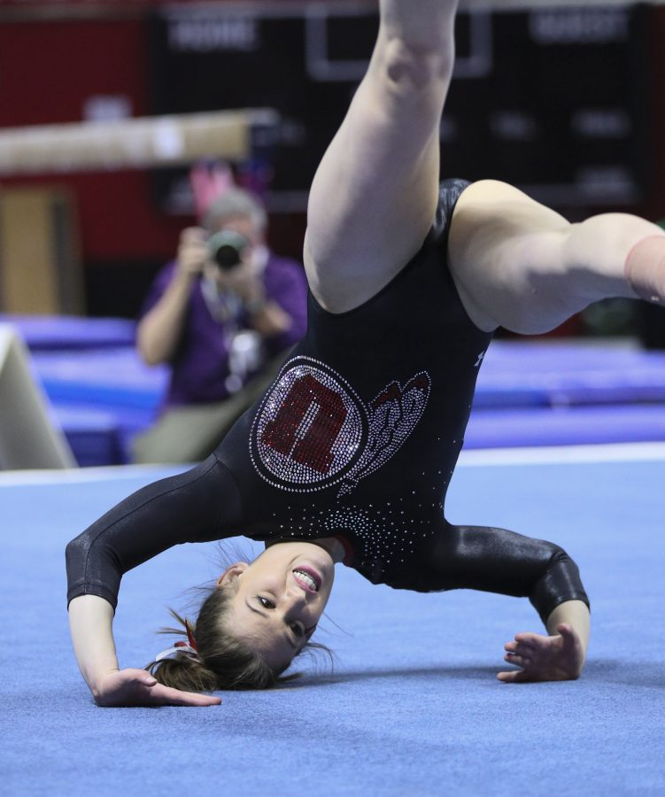 Senior Baely Rowe performing her floor routine vs Stanford at the Jon M. Huntsman Center on Friday, March 3, 2017. Chris Ayers Daily Utah Chronicle.