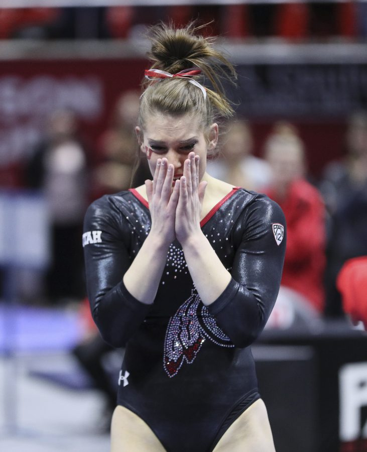 Senior Baely Rowe after her final floor routine vs Stanford at the Jon M. Huntsman Center on Friday, March 3, 2017. Chris Ayers Daily Utah Chronicle.