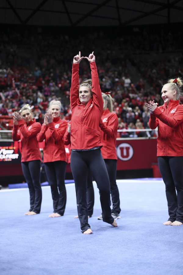 Senior Baely Rowe announced as the MVP vs Stanford at the Jon M. Huntsman Center on Friday, March 3, 2017. Chris Ayers Daily Utah Chronicle.