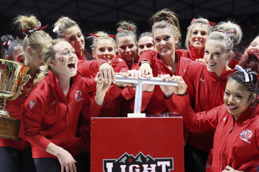 The Red Rocks light the U one final time after their victory against Stanford at the Jon M. Huntsman Center on Friday, March 3, 2017. Chris Ayers Daily Utah Chronicle.